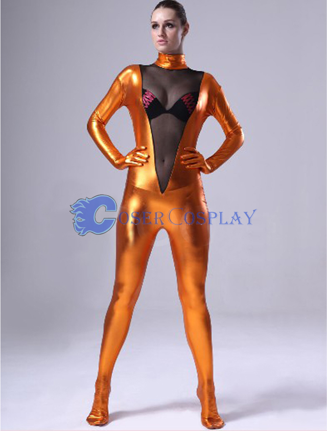 Gold Transparent Wetlook Catsuit